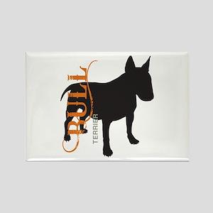 Grunge Bull Terrier Silhouette Rectangle Magnet