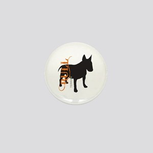 Grunge Bull Terrier Silhouette Mini Button