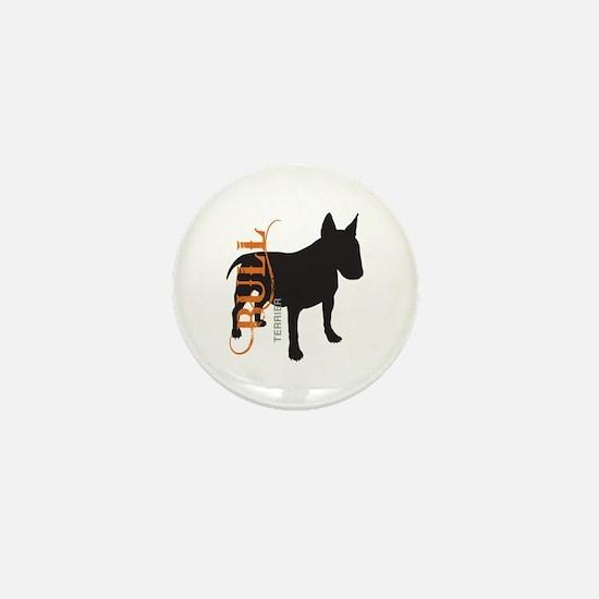 Grunge Bull Terrier Silhouette Mini Button