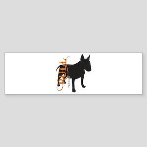 Grunge Bull Terrier Silhouette Sticker (Bumper)