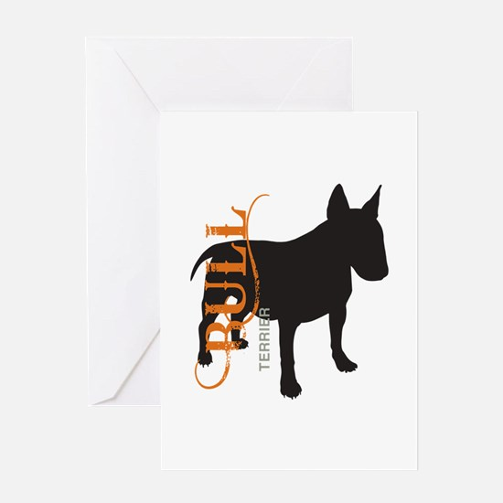 Grunge Bull Terrier Silhouette Greeting Card