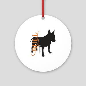 Grunge Bull Terrier Silhouette Ornament (Round)