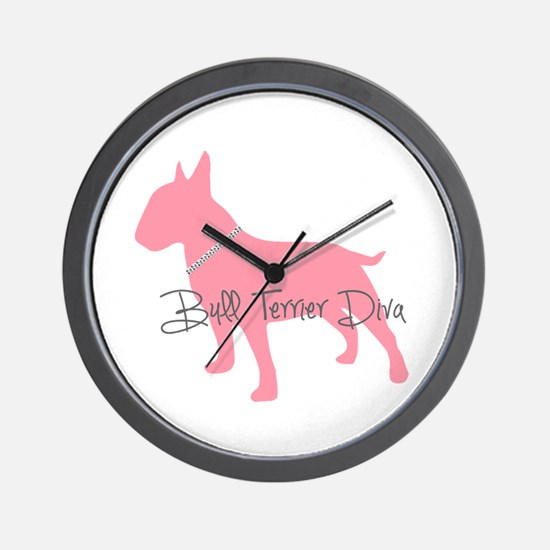 Diamonds Bull Terrier Diva Wall Clock