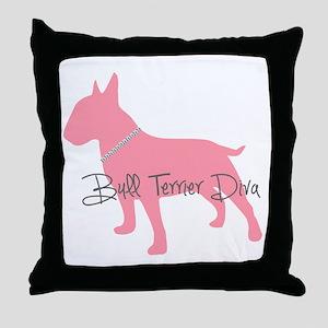 Diamonds Bull Terrier Diva Throw Pillow