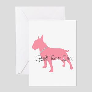 Diamonds Bull Terrier Diva Greeting Card