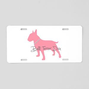 Diamonds Bull Terrier Diva Aluminum License Plate