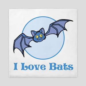 I Love Bats, Cartoon. Queen Duvet
