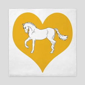 White Horse, Gold Color Heart Queen Duvet