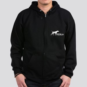 Unisex Vizsla Dark Zip Hoodie (silhouette)