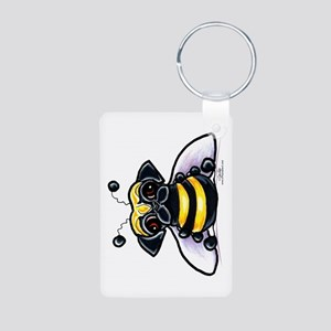Cute Pug Bee Aluminum Photo Keychain