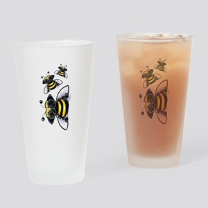 Cute Pug Bee Drinking Glass