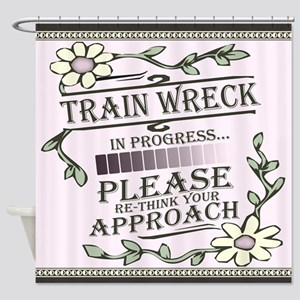 Train Wreck in Progress Shower Curtain