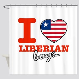 I love Liberian boys Shower Curtain