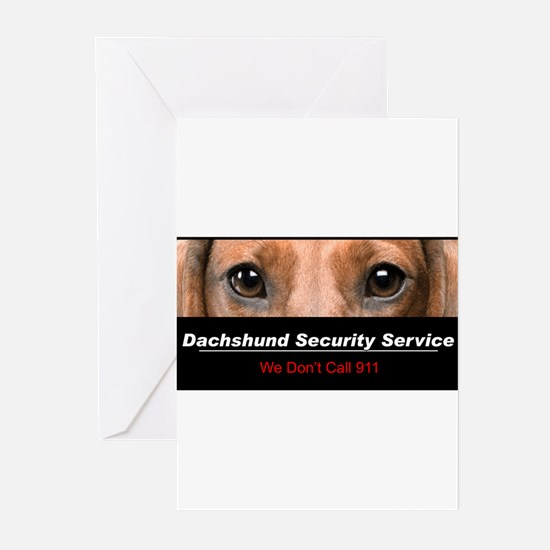 Dachshund Security Service Greeting Cards (Pk of 2
