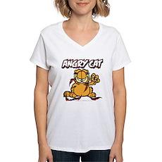 ANGRY CAT Women's V-Neck T-Shirt