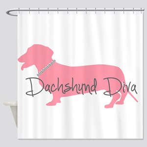 Diamonds Dachshund Diva Shower Curtain