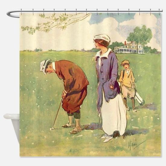 Vintage Golfer Shower Curtain