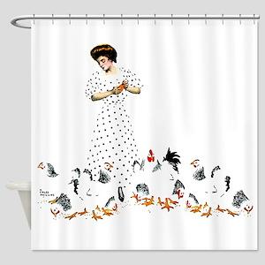 Feeding Chickens Shower Curtain