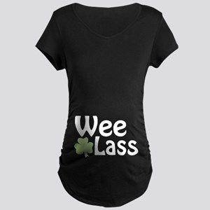 Wee Lass Shamrock Maternity Dark T-Shirt