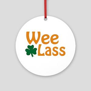 Wee Lass Shamrock Ornament (Round)