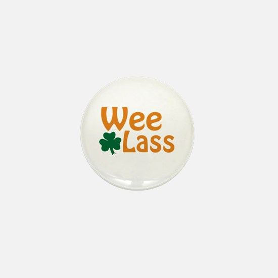 Wee Lass Shamrock Mini Button
