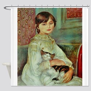 Renoir's Girl with Cat Shower Curtain