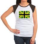 Black Union Jack Women's Cap Sleeve T-Shirt