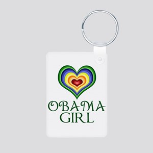 Obama Girl Aluminum Photo Keychain