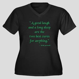 Irish Proverb Women's Plus Size V-Neck Dark T-Shir