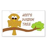 Hoot's Wisdom Tree Sticker (Rectangle)