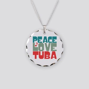 Peace Love Tuba Necklace Circle Charm