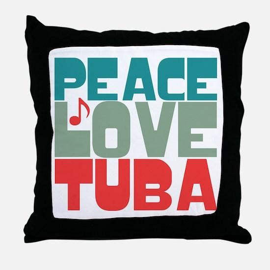 Peace Love Tuba Throw Pillow