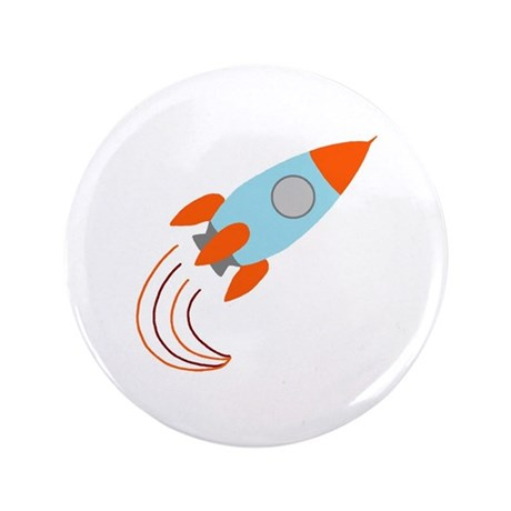 "Blue and Orange Rocket Ship 3.5"" Button"