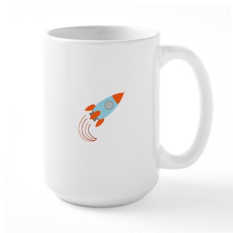 Blue and Orange Rocket Ship Large Mug