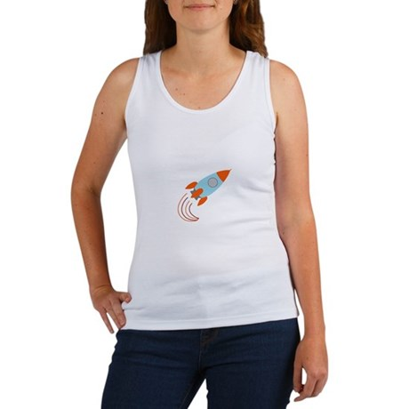 Blue and Orange Rocket Ship Women's Tank Top