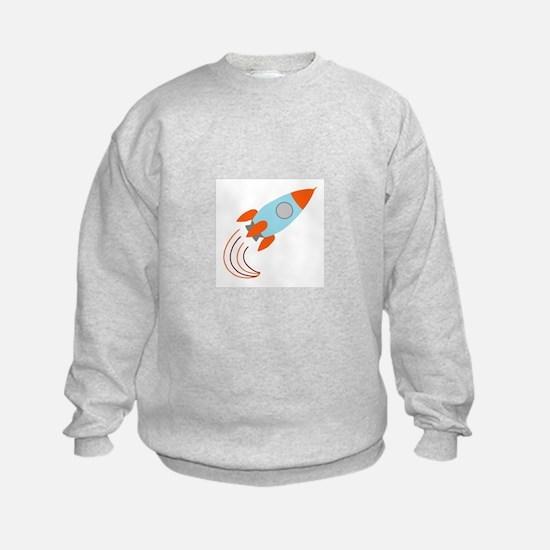 Blue and Orange Rocket Ship Sweatshirt