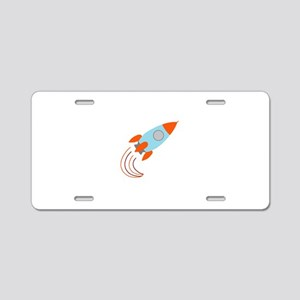 Blue and Orange Rocket Ship Aluminum License Plate