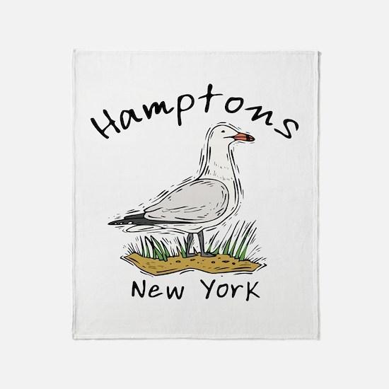 Hamptons NY Seagull Throw Blanket