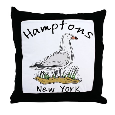 Hamptons NY Seagull Throw Pillow