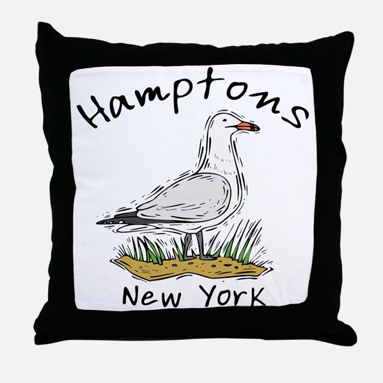 Hamptons NY Seagull Throw Pillow
