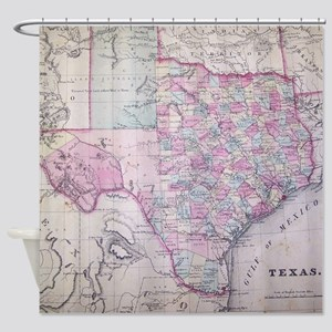 Texas Antique Map Shower Curtain