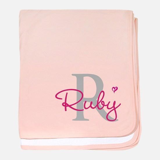 Personalised Pink Inital baby blanket