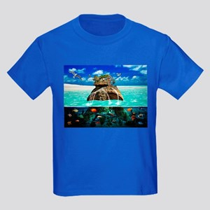 Turtle Island Fantasy Seclude Kids Dark T-Shirt