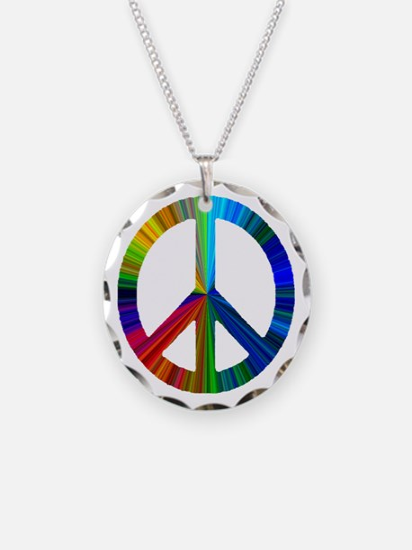 Cute Rainbow peace sign Necklace