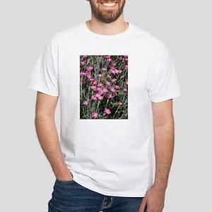 Pink Carnations White T-Shirt