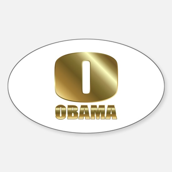 Big Gold O Barack Obama Sticker (Oval)