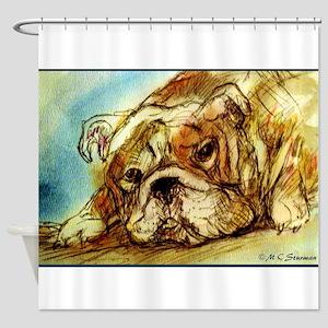 Bulldog! Fun, cute, dog! Shower Curtain