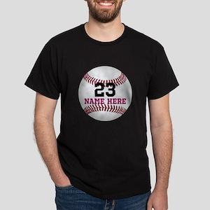 Baseball Player Name Number Dark T-Shirt