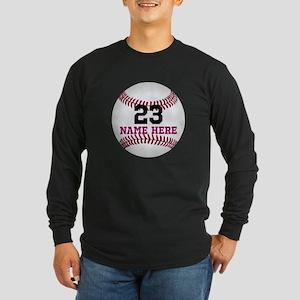 Baseball Player Name Numb Long Sleeve Dark T-Shirt