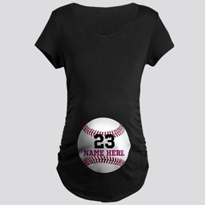 Baseball Player Name Number Maternity Dark T-Shirt